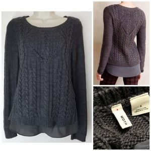 ANTHRO MOTH Cabled Layered Crewneck Sweater Gray S